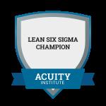 Lean Six Sigma Champion badge.