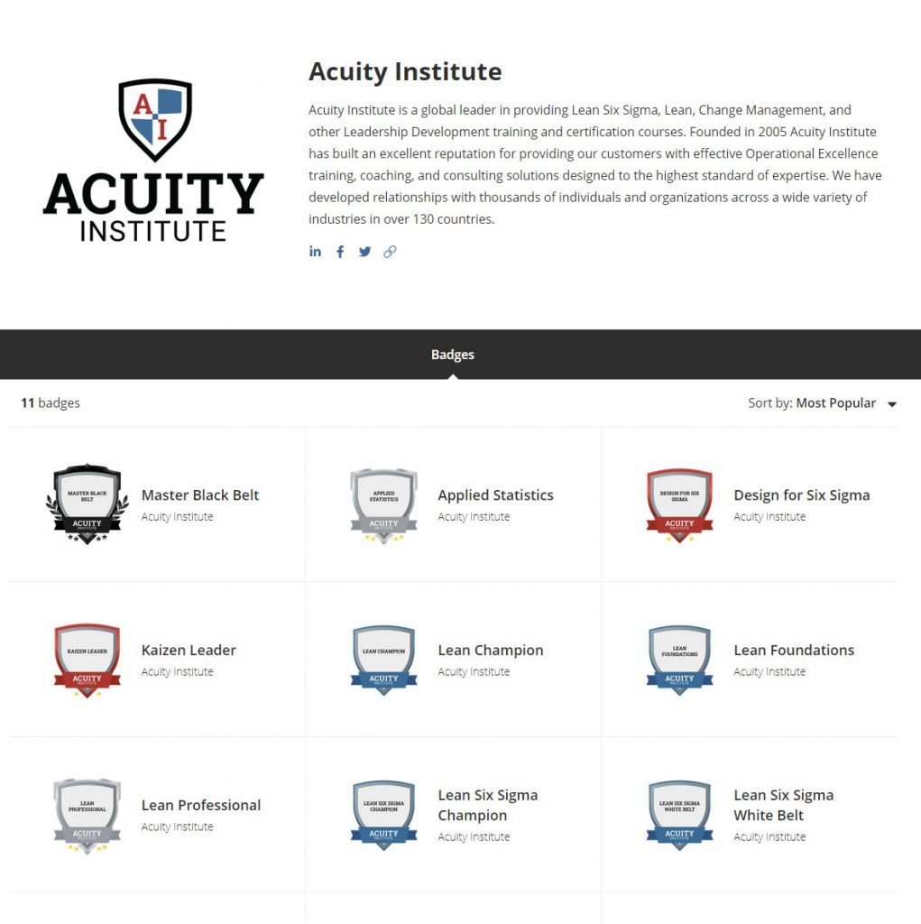 A screenshot of the Acuity home page on the Credly website.
